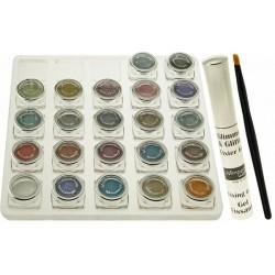 GLIMMER & GLITTER Tableau de maquillage avec: 24 fards à paupières